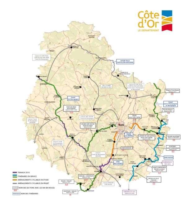 Carte véloroutes par Côte-d'Or Tourisme