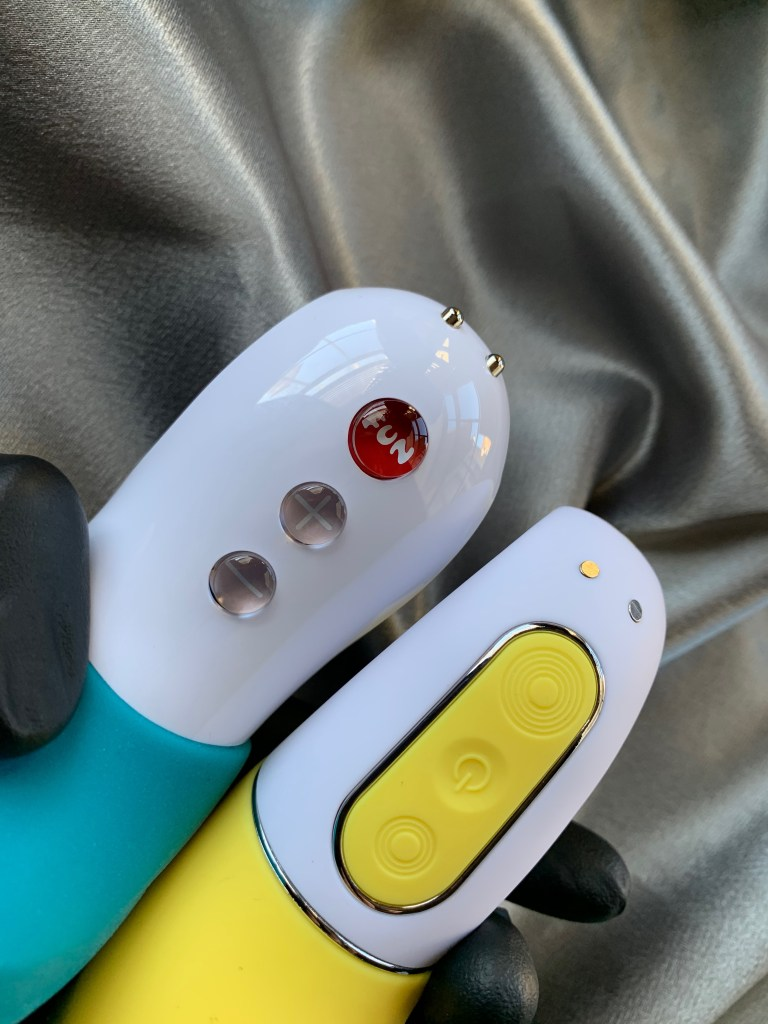 Control panels of the Fun Factory Tiger and Satisfyer Yummy Sunshine