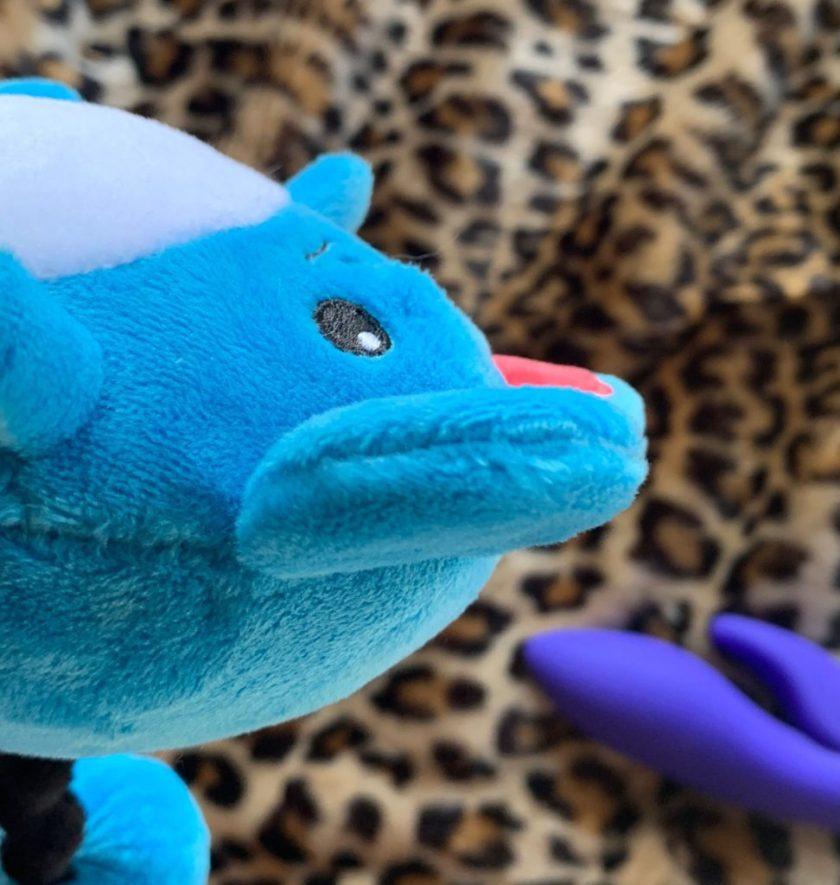 A stuffed Marill Pokemon plush toy in a neutal state. Representation of my genitals before using the Blush Novelties Hop Jessica Rabbit Vibrator