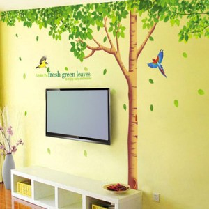 Wall Stickers Removable Wall Decor Stickers Three Generations Living Room TV Background Bedroom Fresh Green Trees XY-1098