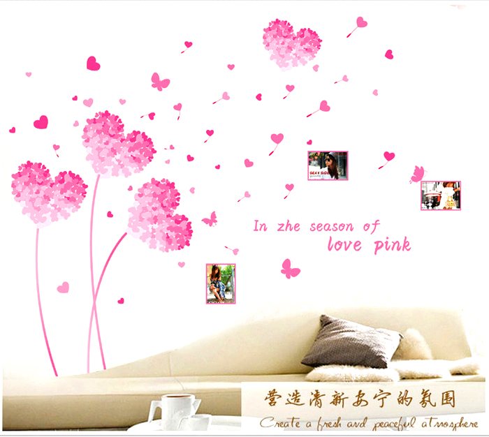 wall decor stickers - big pink love wall stickers - xy-1169 | art
