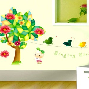 Wall Decor Stickers - Singing Birds on Green Tree Wall Stickers - XY-1021