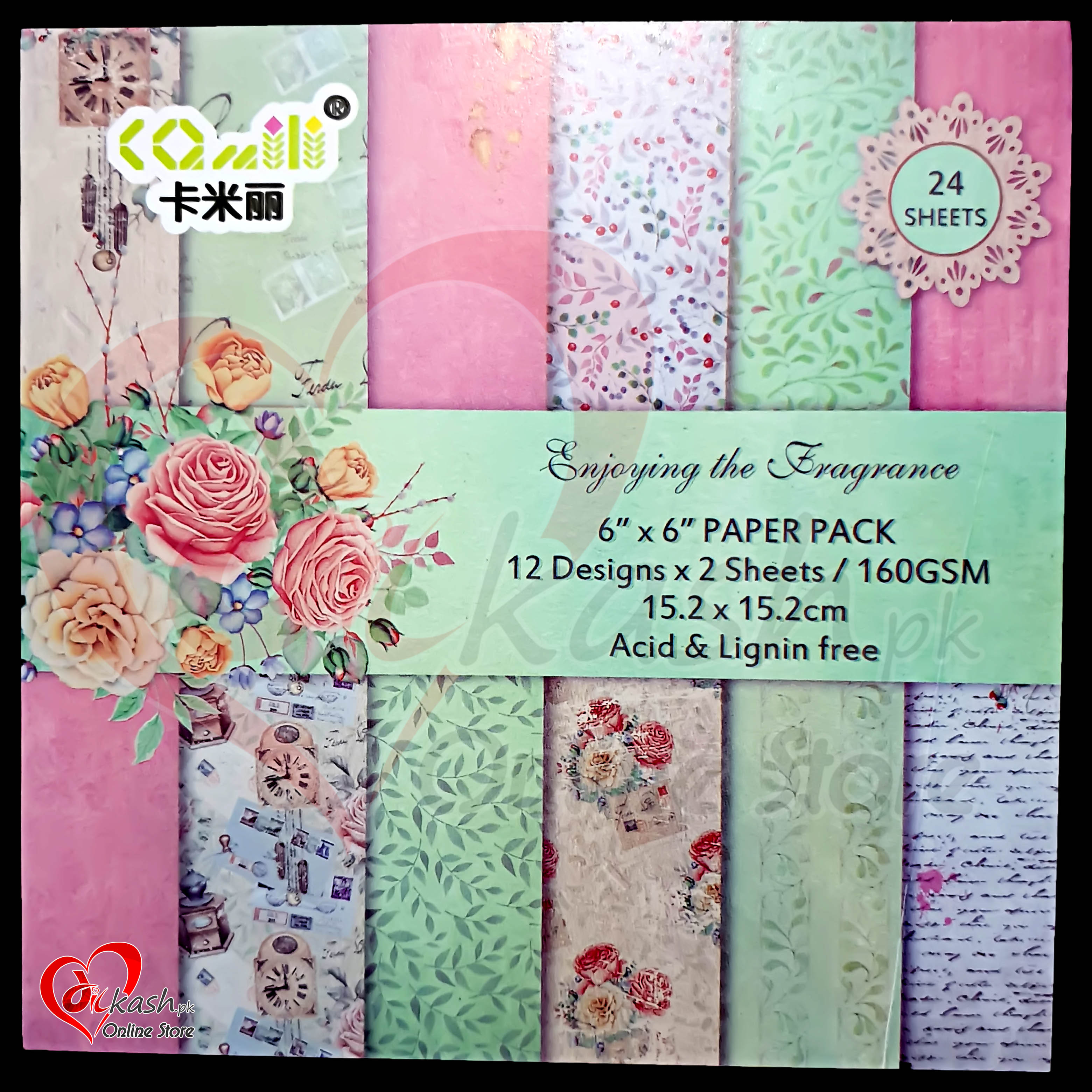Scrapbook Paper Craft Pattern 6×6 Inches – Pattern Paper – Enjoying the Fragrance