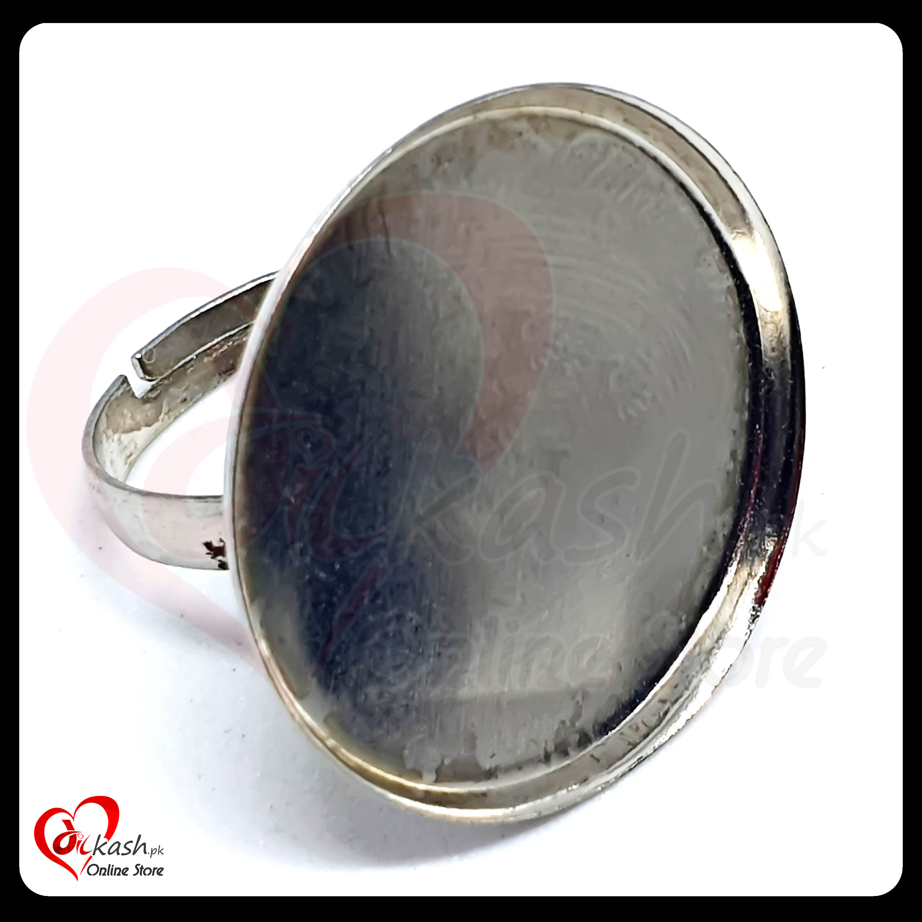 Jewelry Rings Base - 1 Inch Round Ring Base with Border - Silver
