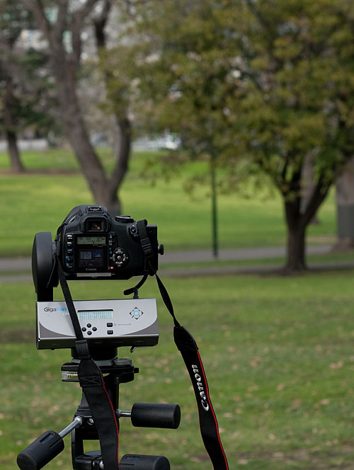 My Canon 350D mounted on a GigaPan Epic motorized panorama platform