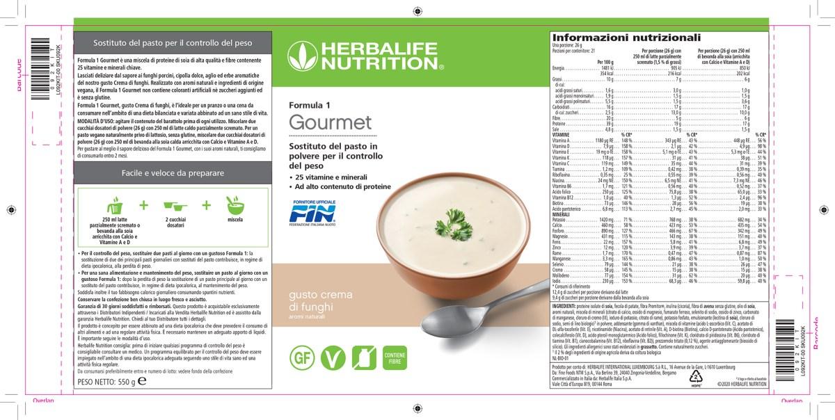 etichetta Herbalife formula 1 Gourmet 550gr