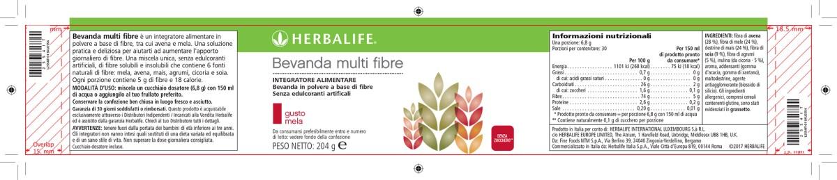 Etichetta Bevanda Multi Fibre Herbalife