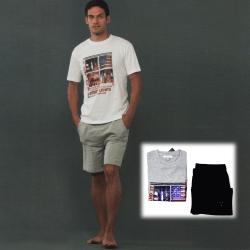 Pigiama Uomo Kissimo in cotone pantalone corto in felpa e maglia mezza manica con stampa