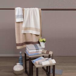 Set asciugamani con strass celeste avorio beige bianco rosa