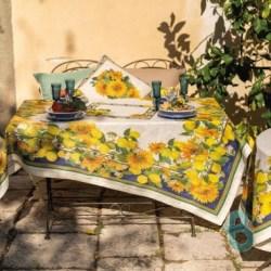Tovaglia Lino Etruscan Garden Tessitura Toscana