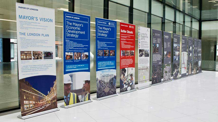 Roller banner displays in large corporate foyer