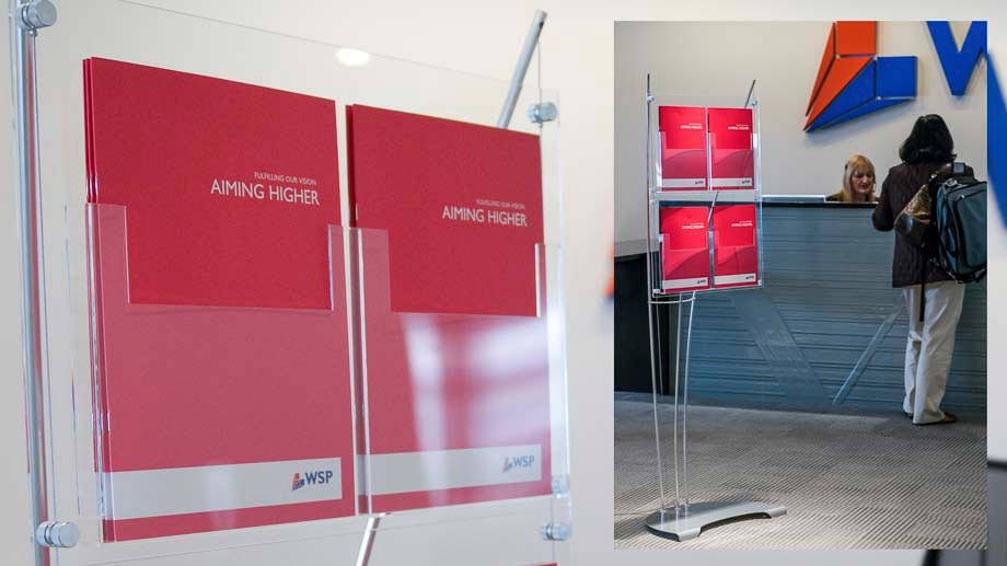 A4 leaflet display stand in modern London office interior