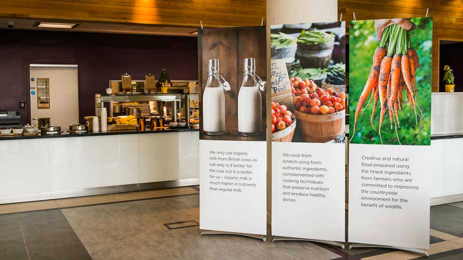 Three 70cm banner displays for permanent display in restaurant