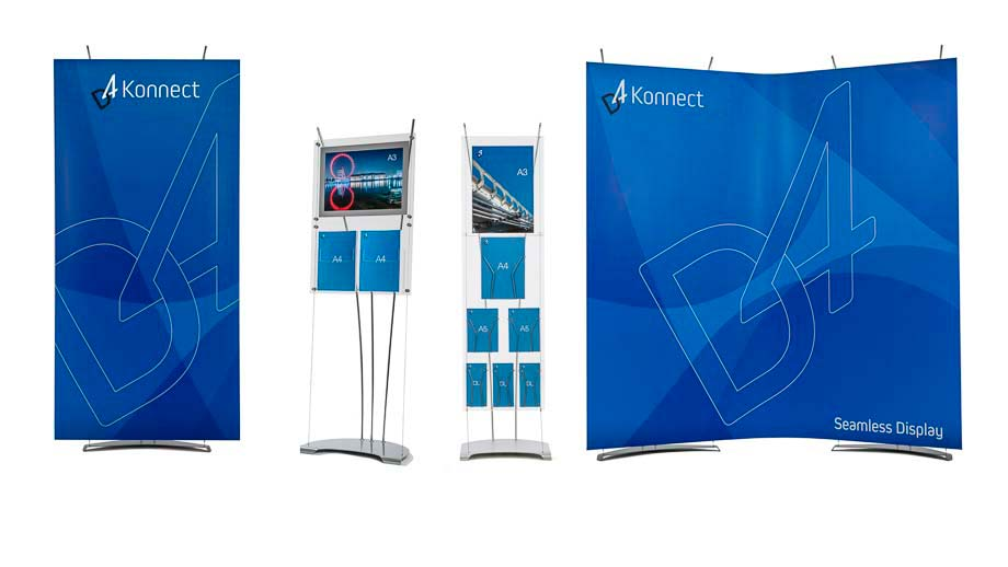 Banner Stand, Brochure Poster Holder, Curved Exhibition Display Stand