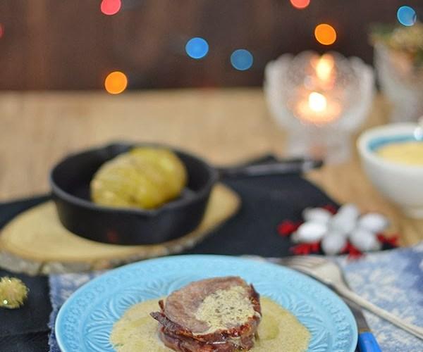 Solomillo de potro con salsa de oporto y patatas hasselback