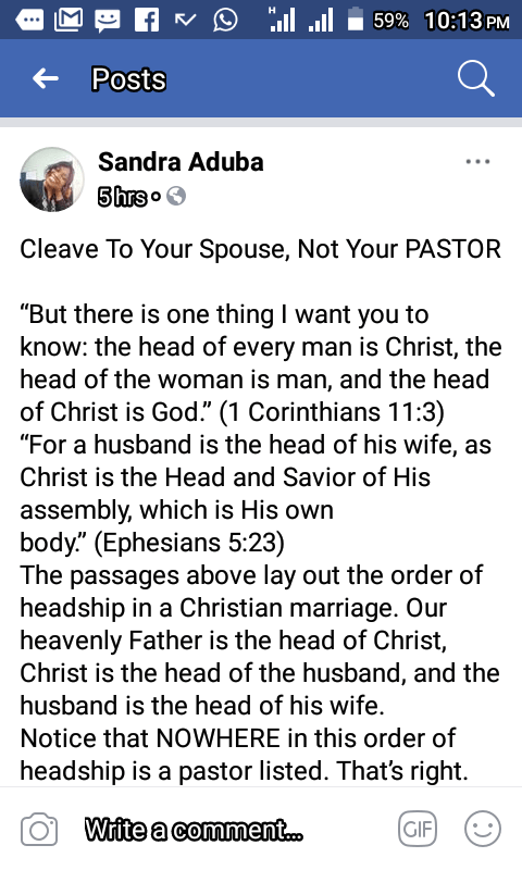 The Husband is the head of the Wife, not the Pastor!