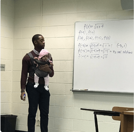 Awesome! Professor Holds Student's Baby While Teaching Maths (Photos)