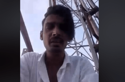 Chennai youth who climbed on top of a cell phone towe