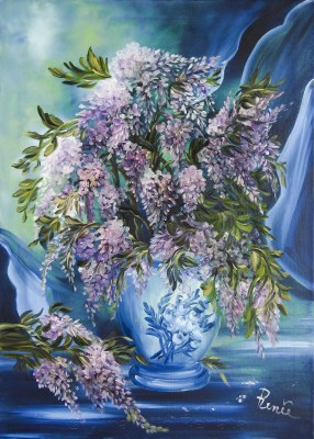 Vaso di glicine 2010, oil on canvas, 50x70 cm