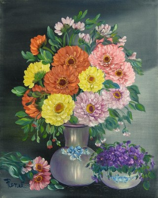 Vaso di zinie 2009, oil on canvas, 40x50 cm
