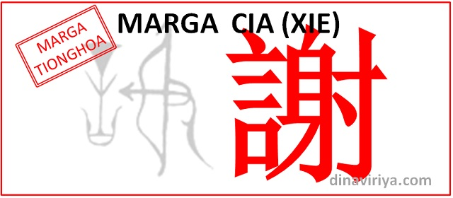 Asal usul Marga Xie (Marga Cia)