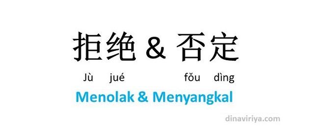 Pernyataan Menolak dan Menyangkal dalam Bahasa Mandarin