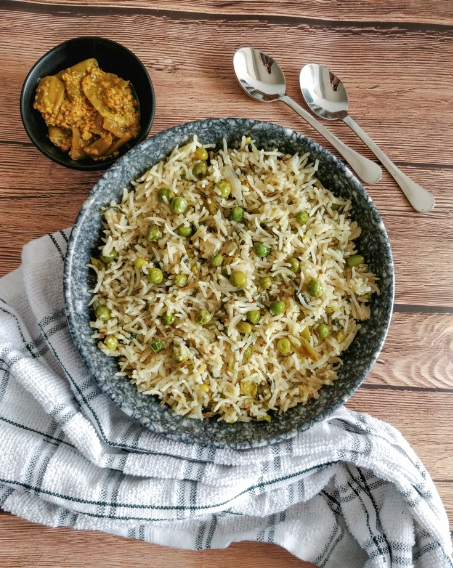 Matar Pulao with Spinach