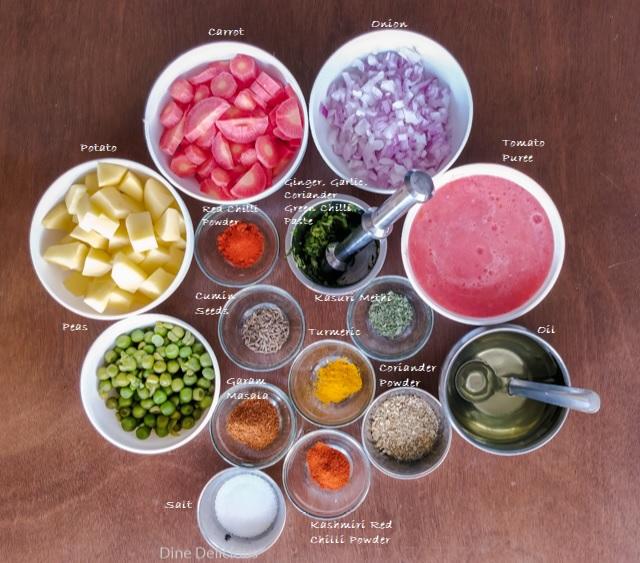 Potato Carrot Peas Curry Ingredients