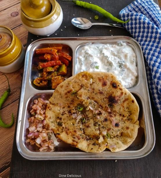 Whole Wheat Onion Kulcha On Tawa, Amritsari Stuffed Kulcha Recipe