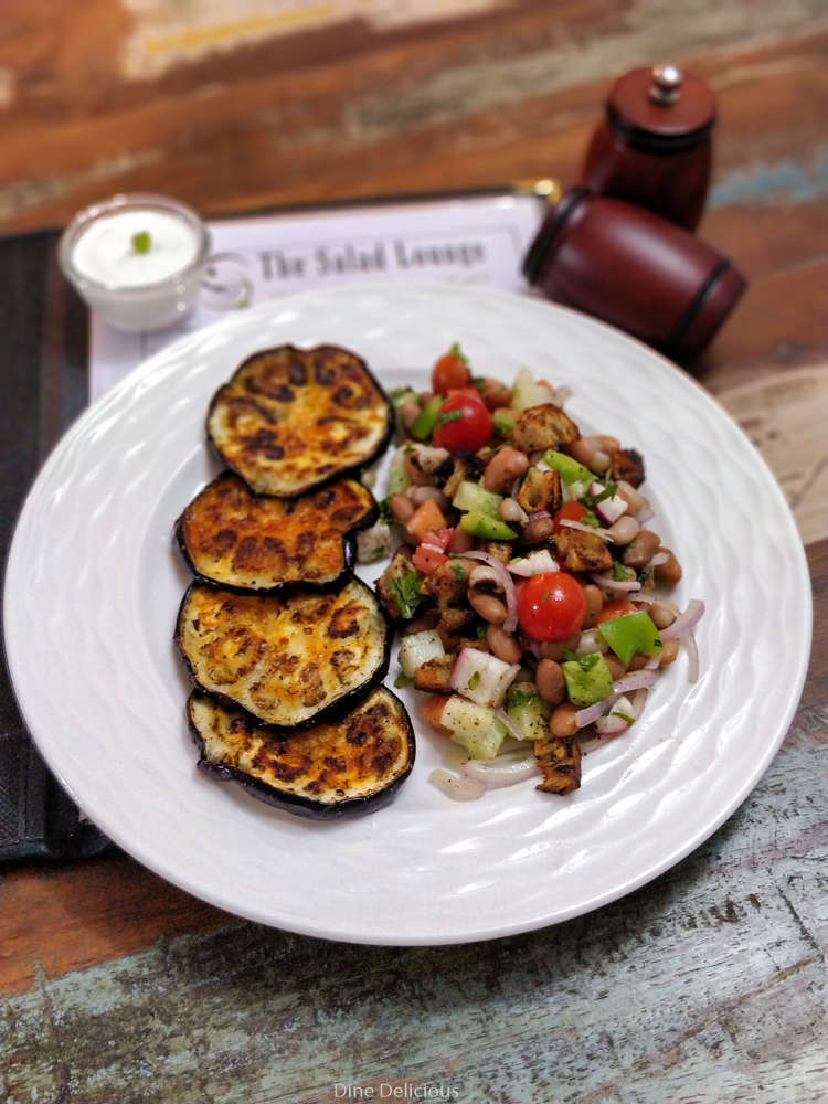Grilled Eggplant Salad with beans Salad Lounge Pune
