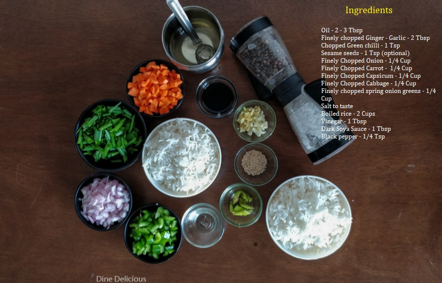 Veg Fried Rice Ingredients