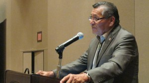 """Navajo Nation President Ben Shelly speaking at the """"Developing Tribal Energy Resources & Economies"""" conference at the Sandia Pueblo's Resort and Casino near Albuquerque, N.M., on June 11, 2013.   Photo by Marley Shebala"""