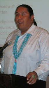 """Navajo Nation Executive Office Communications Director Erny Zah presented """"Energy Case Study: A Comprehensive Energy Approach: Coal, Oil & Renewables"""" workshop at the """"Developing Tribal Energy Resources & Economies"""" conference at the Sandia Resort & Casino near Albuquerque, N.M., on June 12, 2013. Photo by Marley Shebala"""
