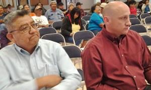 BHP Billiton Tribal Liasion Officer Norman Benally and BHP Billiton Coal Asset President Pat Risner. Photo by Marley Shebala