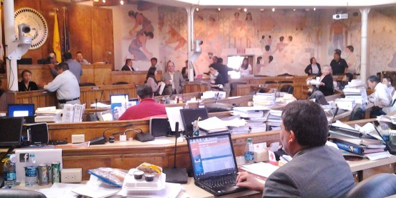 Navajo Nation Council preparing to take up $220 million Bond/Loan legislation at the Council chamber in Window Rock, Ariz., on Nov. 26, 2013. Photo by Marley Shebala