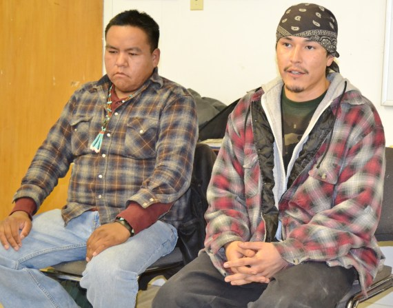 Kris Barney, who identified himself as a farmer and activist from Rock Point, Ariz., and Kooper Indigenize Curley of Chichiltah, N.M., were among about 50 individuals, primarily youth, from across the Navajo Reservation that attended the Rising Native Youth gathering. Photo by Marley Shebala