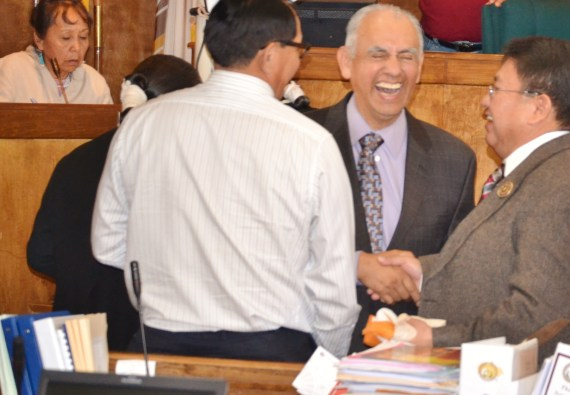 Navajo Nation Controller Mark Grant laughs it up with Delegates Lorenzo Curley and Mel Begay at the Council chamber in Window Rock, Ariz., on Jan. 28, 2014. Legislative attorney Marian Kahn is in the background. Photo by Marley Shebala