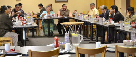 (L-R) Illegal meeting of Navajo Council at 8 a.m. at Quality Inn in Window Rock, Ariz., on Jan. 29, 2014, was attended by Delegates Roscoe Smith, Dwight Witherspoon, Leonard Pete, Katherine Benally, David Tom, George Apachito, Speaker Johnny Naize, Jonathan Nez and Duane Tsinigine. Delegates Leonard Tsosie, Lorenzo Curley, Russell Begaye and Walter Phelps were present but not pictured. Photo by Marley Shebala
