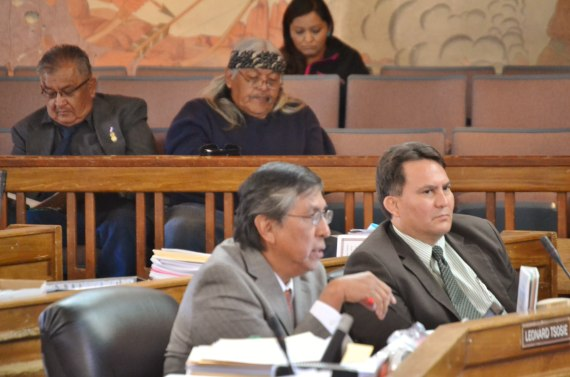 People in the Navajo Council chamber gallery listen to Council Delegate Leonard Tsosie ask Council to place Speaker Naize on administrative leave, instead of removing him as speaker on April 4, 2014. Delegate Witherspoon sits to the left of Tsosie. Photo by Marley Shebala