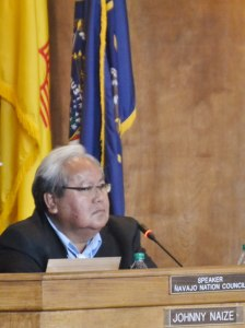 Navajo Council Speaker Johnny Naize presiding over his last Council session on April 4, 2014, which is when the Council placed Naize on aid leave. Photo By Marley Shebala.