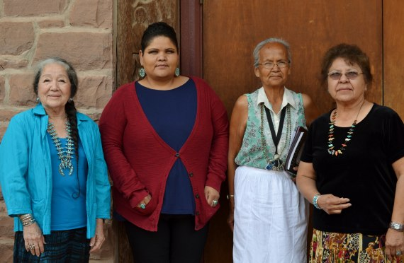 Navajo Council Naabik'iyati Committee confirmed Navajo Nation Women's Commission members (L-R) Vivian Arviso-Deloria; Sharon Jackson; Charlotte Begay, Shirley Montoya, and Lolita M. Poddock, who is not pictured, at the Council chamber in Window Rock, Ariz., on June 13, 2014.  Photo by Marley Shebala.