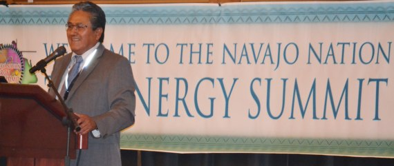 "Navajo Nation Attorney General Harrison Tsosie talks ""History of Navajo's Natural Resources Development"" on opening day of the Navajo Nation Energy Summit at Twin Arrows Casino & Resort on July 23, 2014. Photo by Marley Shebala. (Please provide proper photo credit when reusing photo.)"