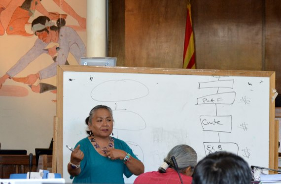 Navajo Council Naabik'iyati Committee member Delegate Katherine Benally shows the committee how the tribal government budget process is unfair to local governments during a report to the committee in the Council chambers in Window Rock, Ariz., on Aug. 28, 2014. Photo by Marley Shebala. (Please provide proper photo credit when reusing photo.)