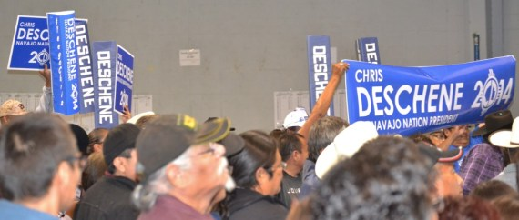 After Navajo Nation presidential candidate Chris Deschene and his supporters triumphantly and loudly entered the Window Rock, Ariz., Sports Center and claimed second place in the tribal primary election on Aug. 26, 2014, former trial President Joe Shirley Jr. and his supporters entered the Sports Center and claimed first place.  Photo by Marley Shebala. (Please provide proper photo credit when reusing photo.)