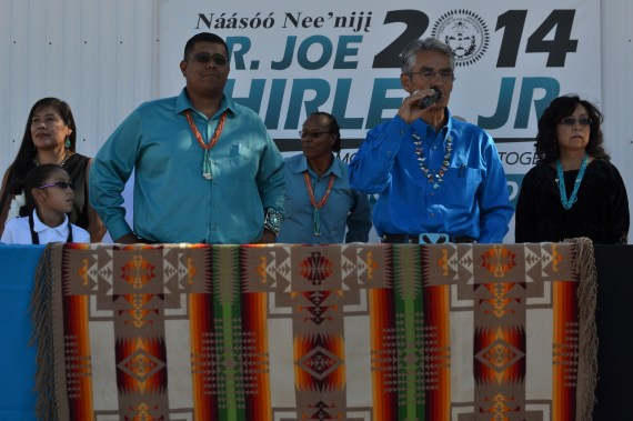 Navajo Nation presidential candidate Joe Shirley Jr. announces his running mate who is Dineh Benally. Benally stands on right side of Shirley. Photo by Marley Shebala. Please give proper credit when resuing photo.