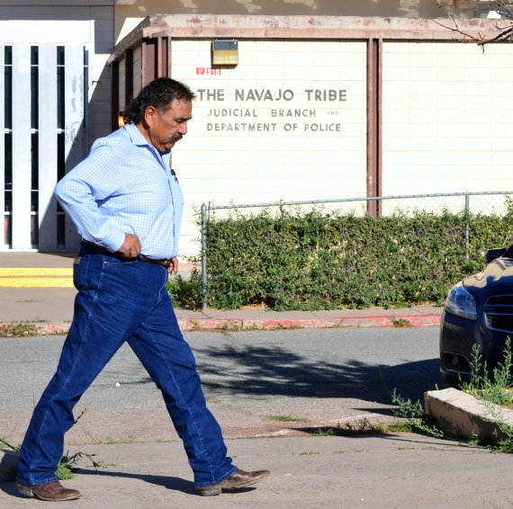 Former Navajo Nation Council Speaker Lawrence Morgan entered a plea agreement with the Special Prosecutor that involved a guilty plea to one count of conspiracy and the dismissal of six criminal charges in exchange for his testimony against other elected officials being prosecuted by Special Prosecutor. (Photo by Marley Shebala. Please give proper photo credit if re-using photo.)
