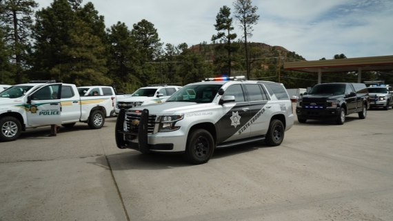 Navajo Police Department Tuba City District, Navajo Department of Criminal Investigations, Navajo Rangers, Navajo EMS, Sacred Mountain EMS and Arizona Department of Public Safety provided an escort for Corrina Thinn from Flagstaff, Arizona. to Tuba City, Arizona. (Courtesy of the Navajo Police Department Tuba City District)
