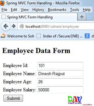 Spring MVC Form Handling Example - Dinesh on Java