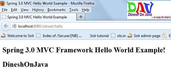 Spring MVC Hello World Example - Dinesh on Java
