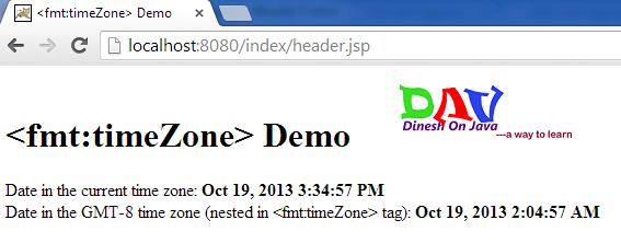 JSTL timeZone & setTimeZone fmt Tag Example <fmt:timeZone>  <fmt:setTimeZone>